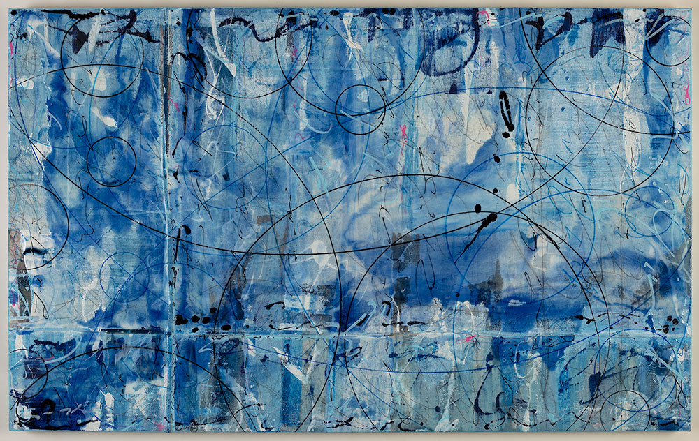 Beyond the Blue 40 x 65, acrylic and resin on canvas
