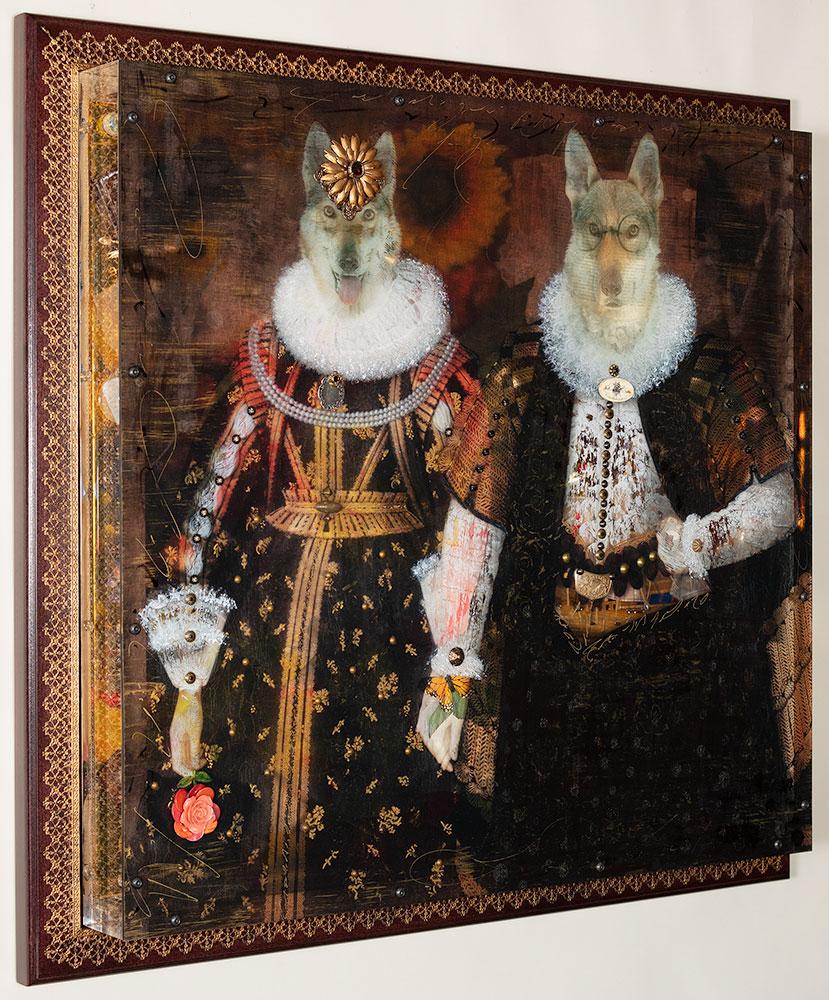 "Isabel and Harold, The Travelers 34 x 36"" Layered Mixed Media"