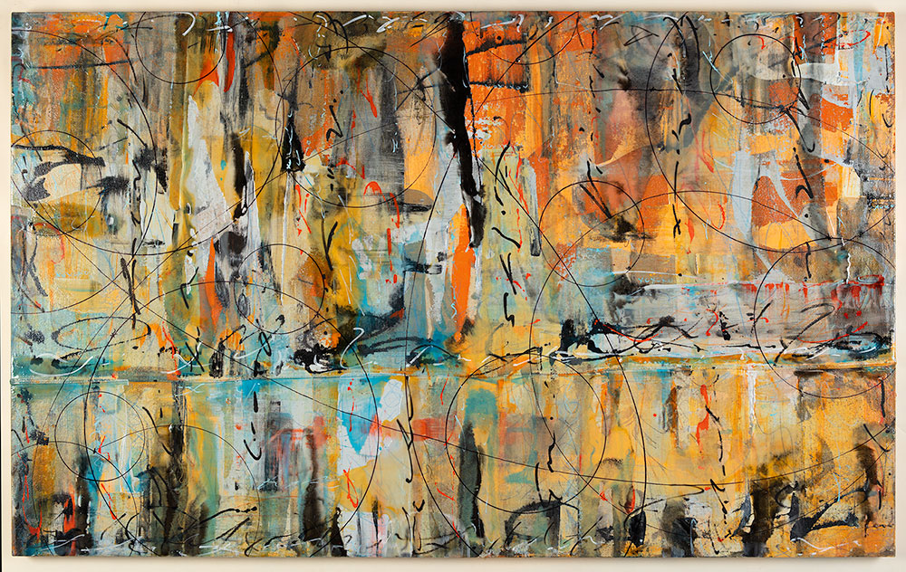 Summer Solstice 48 x 76, acrylic and resin on canvas